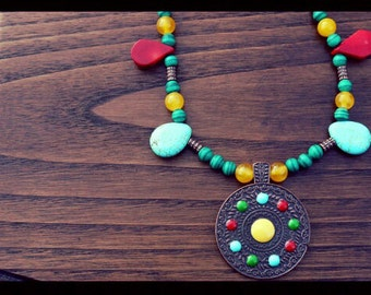 Chakra Necklace with Tribal Pendant. Stunning Turquoise And Red Coral Teardrop Beads, Mesmerizing Malachite Beads.