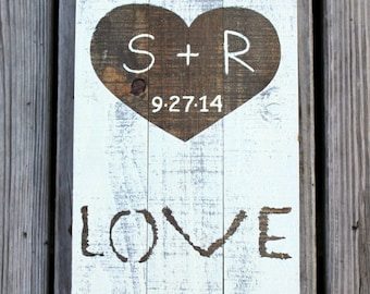 Bride & Groom Sign Plaque Rustic Wedding Decor LOVE HEART PERSONALIZED