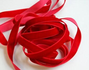 "5/8"" wide Velvet Ribbon in Red - 5 yards"