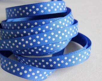 "3/8"" Grosgrain Ribbon Swiss Dots - Royal Blue - 25 yard Spool"