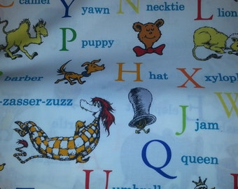 Adventure ABC by Dr Seuss for Robert Kaufman  alphabet with characters brights on white background 1 yard cotton quilt fabric