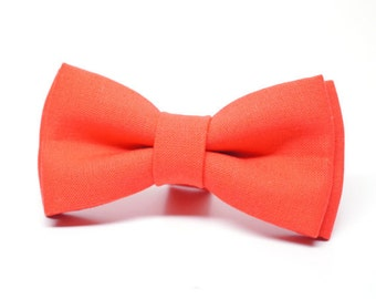 Dark Coral Bow Tie for Boys, Toddlers, Baby - pre tied bowtie