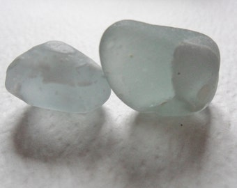 2 unusual grey sea glass with shadowy inserts - Lovely English beach find pieces