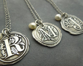 Personalized Bridesmaid set, Custom made wax seal necklace, set of 3 , fine silver