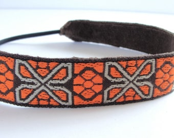 Headband orange jacquard head band vintage trim women hair accessory