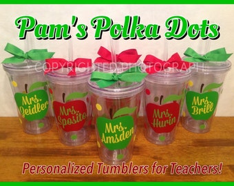 6 Personalized Acrylic Tumblers with APPLE and TEACHER'S NAME with Polka Dots Great Teacher Gift