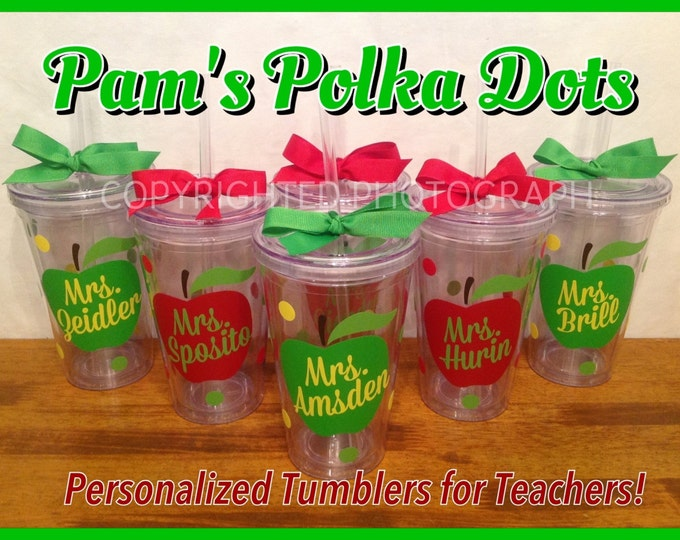 4 Personalized Acrylic Tumblers with APPLE and TEACHER'S NAME with Polka Dots Great Teacher Gift