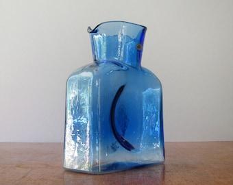 Blenko Glass Bottle / Pitcher / Vase / Decanter - 384 Blue