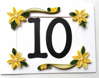Table Numbers, Wedding Table Number, Yellow Wedding Decor, Wedding Table Decorations