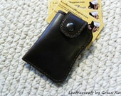 100% hand stitched handmade brown cowhide leather business card / credit card / ID / change pouch / case