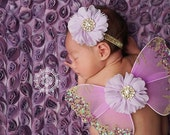 Newborn Butterfly Wings, Light Purple, Gold Sparkle, Flower Headband, Matching Set, Gold Rhinestones, Ready To Ship, Photo Prop