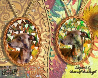 Italian Greyhound Jewelry Pendant - Brooch Handcrafted Porcelain by Nobility Dogs - Gustav Klimt and Van Gogh