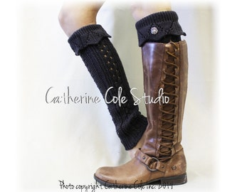 RAMBLING ROSE In Dark Grey,  thick knit hand knit look legwarmers womens, for boots winter leg warmers boot socks Catherine Cole Studio LW35