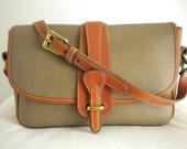 Vintage Dooney & Bourke Taupe Large Equestrian Shoulder Bag Taupe/Tan All Weather Leather