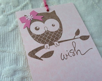 Set of 12 Pink Owl Wish Tree Tags- Pink Bow - Baby Girl Shower