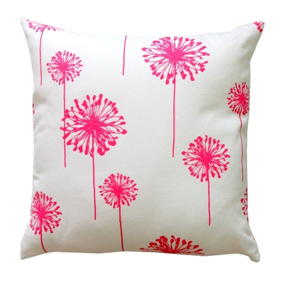 Throw Pilllows, Candy Pink Dandelion Pillow Cover, Zippered Pillow, Cushion Cover, Hot Pink Spring Decor, Floral Pillow, Pink Bed Pillows