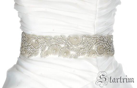 JANE wedding rhinestone seed baeds bridal sash ,belt