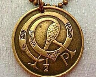 Irish Necklace - Ireland COIN NECKLACE - celtic bird design - Irish harp - book of kells - Dublin - Eire - Belfast - Irish harp