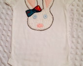 Baby Girls Bunny Bodysuit or T-Shirt White Chenille Rabbit with Accent Bow, Button Eyes & Polka Dot Nose
