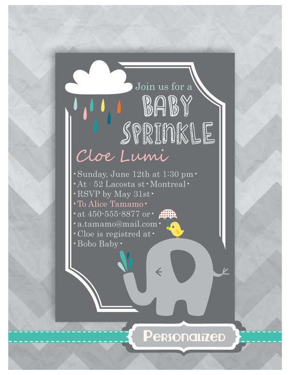 personalized baby sprinkle invitation baby shower invitation