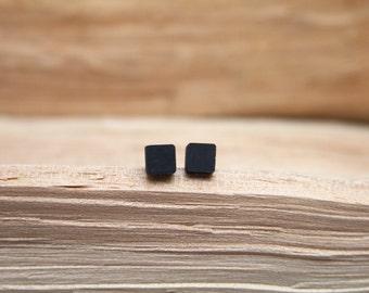 Minimalist Black Steel Earrings Contemporary Jewelry Design
