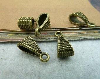 50pcs 7x15mm Antique  Bronze Smaller Alloy Jewelry Bails- Great For Scrabble Tile Pendants And Glass Pendants C2574