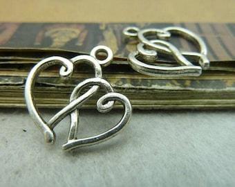 50pcs 19x19mm The Heart Silver Color Retro Pendant Charm For Jewelry /Pendants C5801