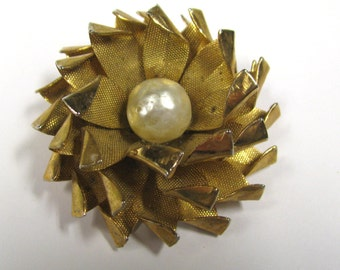 Vintage Faux Pearl Layered Brass Flower Brooch Pin, Baroque Pearl Brooch