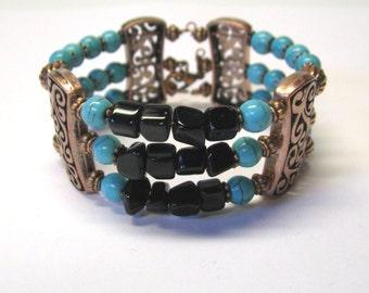 Turquoise Black Onyx Copper Southwestern Memory Wire Triple Strand Bracelet