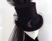 Gothic Victorian steampunk black riding top hat