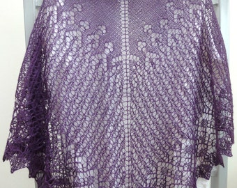 Hand knitted luxury and big Triangle Shawl, dark deep purple - violet. Free shipping.