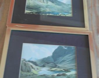 vintage pair of english lakeland framed prints