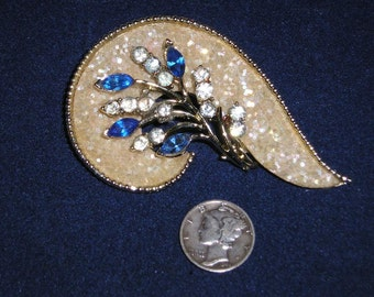 Vintage Coro Rhinestone Brooch 1950's Signed Jewelry 2273