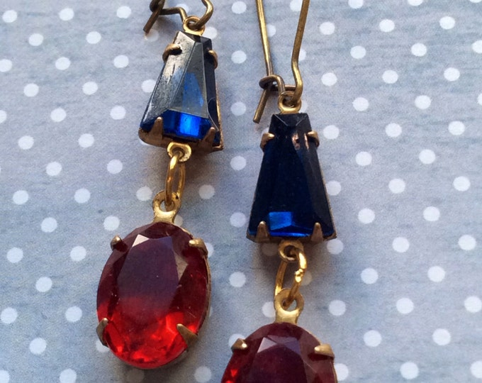 Jewelry Earrings Glass Red & Blue Crystal Genuine Vintage Inspired Swarovski Old Hollywood Glam