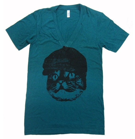 SALE - Unisex CAT In A Hat Deep V Neck T Shirt - American Apparel - Tri Evergreen - SMALL