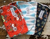 SALE Baby Girl Burp Cloths - Petite Plume - Peacocks, Feathers & Floral - Set of 3 - Coral Red, Baby Blue and Navy