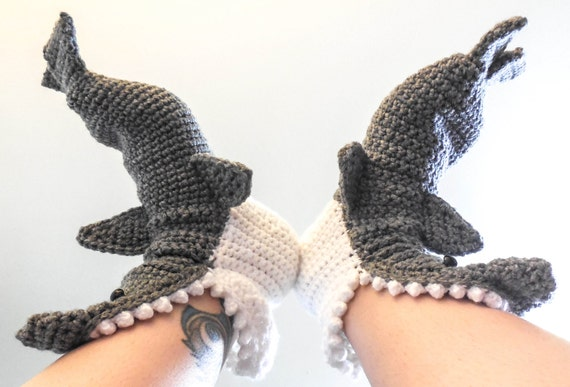 Crochet Shark Slippers Free Pattern For Adults : Crochet Shark Slippers Adult Men Sizes 6-12 Grey Crochet