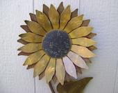 Sunflower, Metal Garden Art, Rusty Metal Sunflower wall art, Rusty metal Sunflower Stake, flower wall hanging, gold sunflower