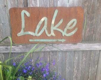 Lake Sign, Rustic Lake Sign, Rusty Metal Sign