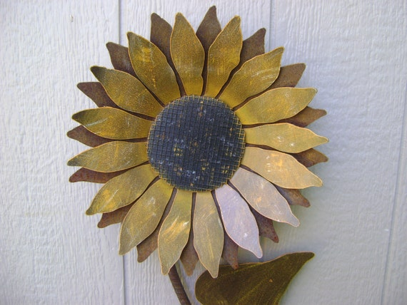 Garden Sunflower Wall Decor : Sunflower metal garden art wall rusty