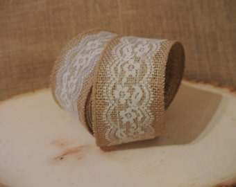 "Burlap and Lace Ribbon - 2.5"" by 4 yds"