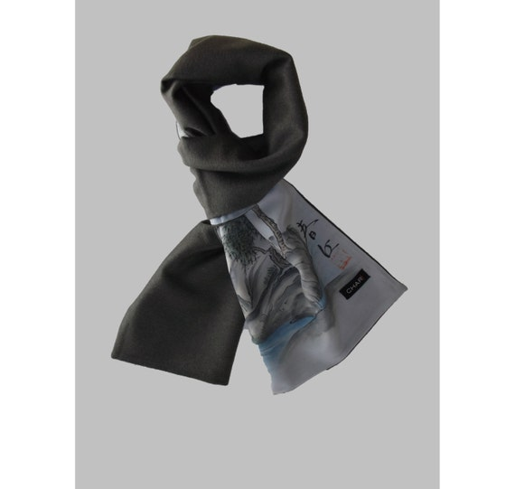 One Of A Kind: Men's Cashmere and Mink Scarf with handpainted Japanese silk