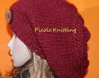 Knitted Teen Slouchy Beanie, Winter Chunky Hippie Cap, Hipster Slouchy Cap, Boho Hairy Hat in RED with Eco Button on the Side