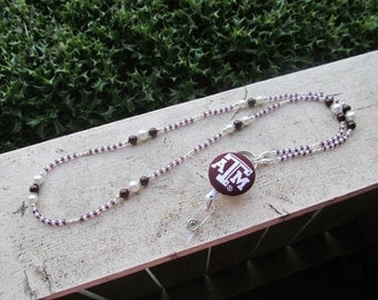 Texas A&M Aggies ID Badge Lanyard Maroon and White Beaded ID Badge Holder