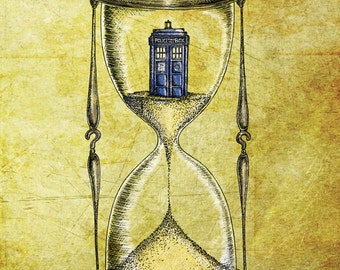 Doctor Who 8x10 print - Time Flies - Dr Who Tardis Hourglass inspired photo print art poster- FREE WORLDWIDE SHIPPING