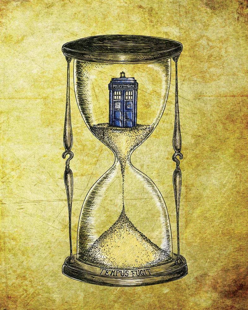 Doctor Who 8x10 print Time Flies Dr Who Tardis Hourglass