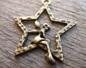 10 Fairy in Star Charms Antiqued Bronze 28mm Wish Upon A Star