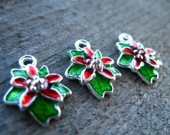 3 Enamel Holly Charms 18mm Silver Plated and Enamel Christmas Charms