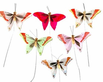 12 pc 3 Inch Feather Butterflies Craft Butterfly New (BF706), Party Butterflies, Wedding Butterflies  ON SALE NOW!