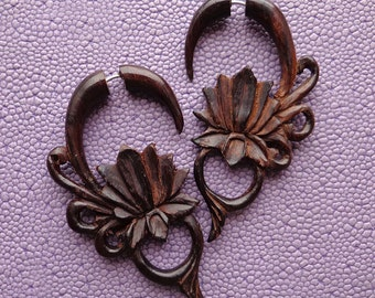 MALEE - Hand Carved Tribal Earrings - Lotus Flower Design - Natural Brown Sono Wood